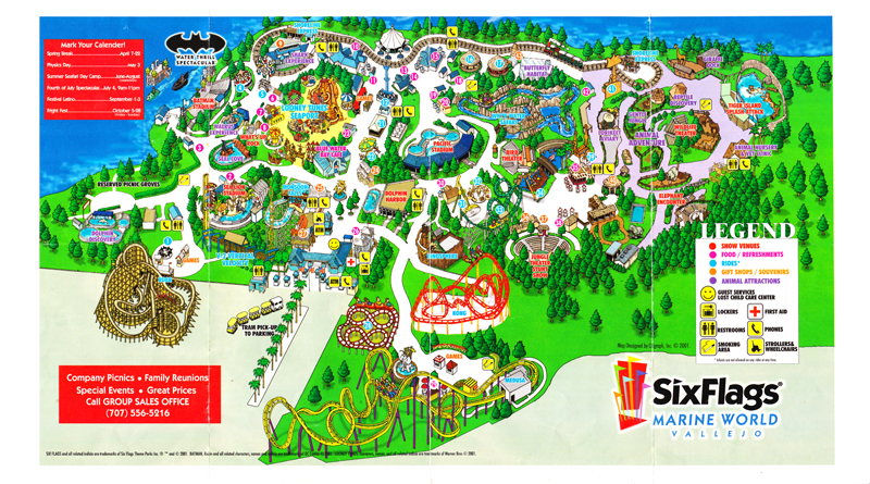 six flags discovery kingdom 2001 park map