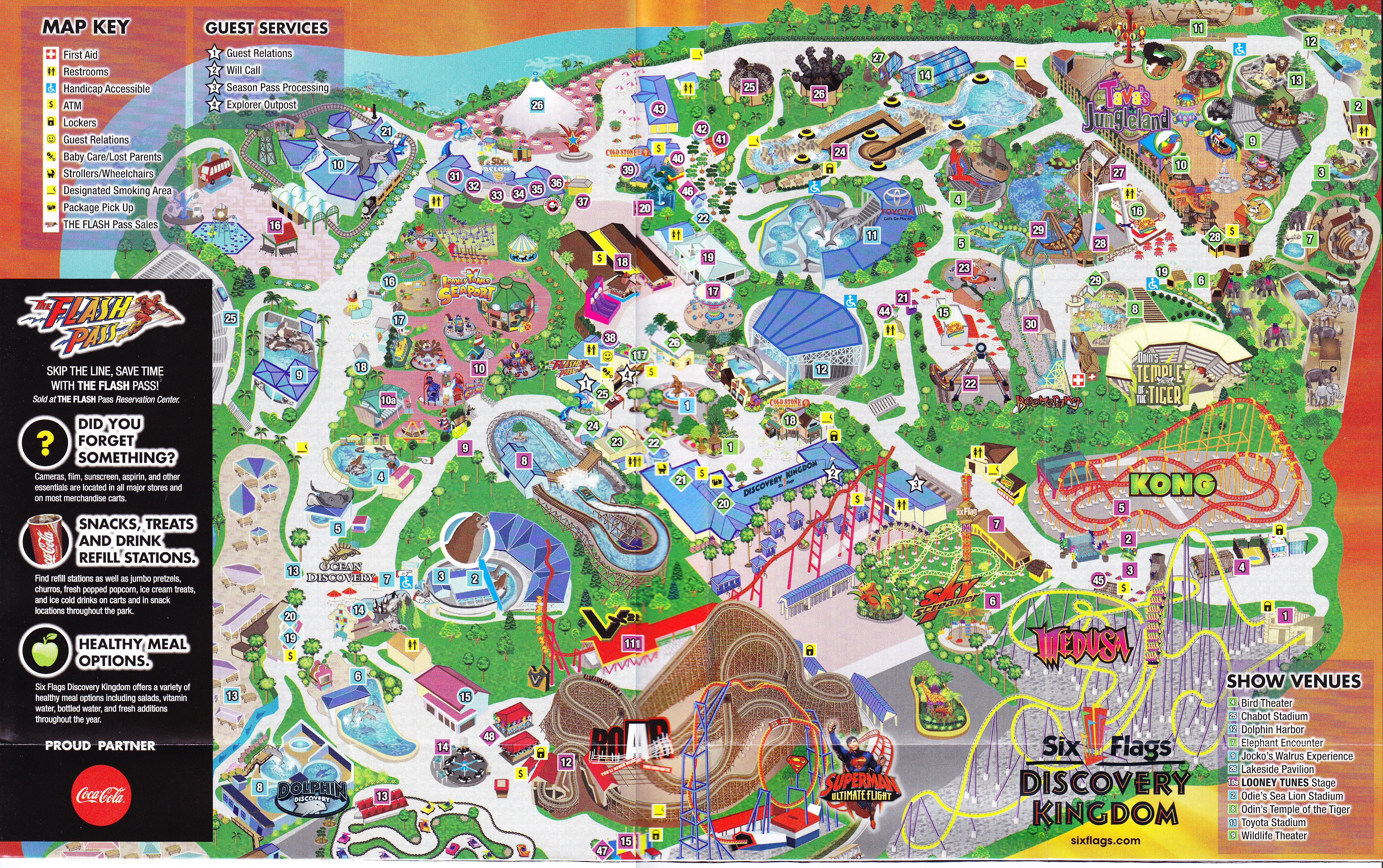 Six Flags Discovery Kingdom Map Six Flags Discovery Kingdom   2013 Park Map Six Flags Discovery Kingdom Map