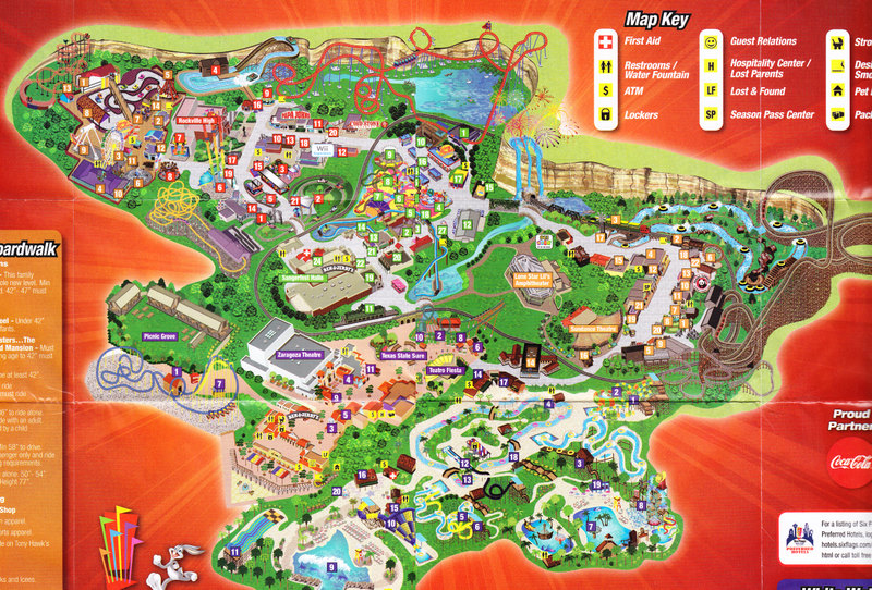 Six Flags Fiesta Texas - 2009 Park Map on doubletree anaheim map, six flags oklahoma city map, six flags santa clarita map, six flags kentucky map, six flags md schedule, california's great america map, six flags vallejo map, six flags california map, six flags ohio map, six flags chicago map, dallas six flags map, six flags mexico city map, six flags tennessee map, fiesta texas map, six flags eureka map, six flags new hampshire map, six flags tx, be live grand punta cana map, six flags saint louis map, six flags san ant,