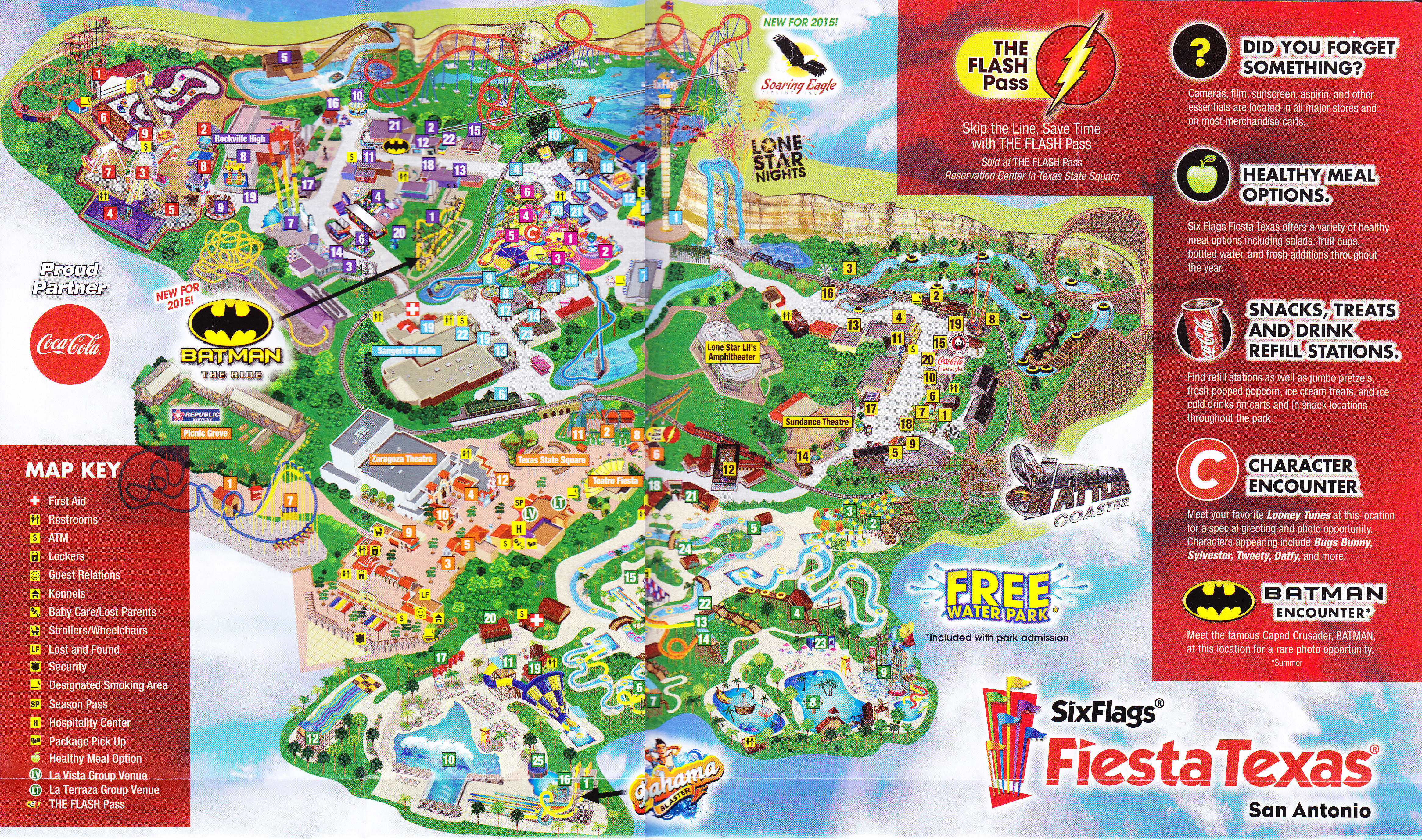 park map  page . six flags fiesta texas   park map