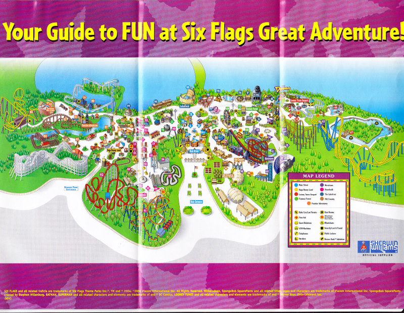 2011 six flags great adventure map. Six Flags Great Adventure Map