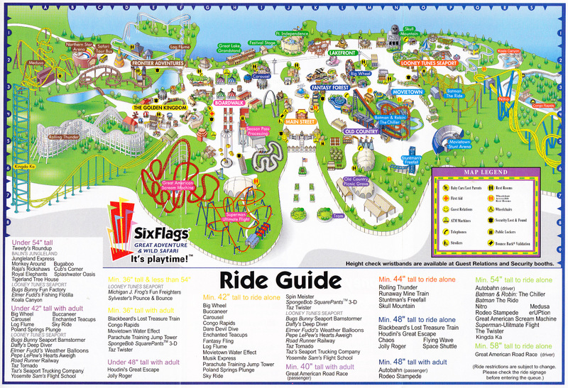 six flags great adventure 2005 park map