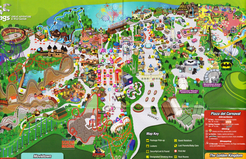 Map Of 6 Flags Great America.Six Flags Great Adventure 2009 Park Map