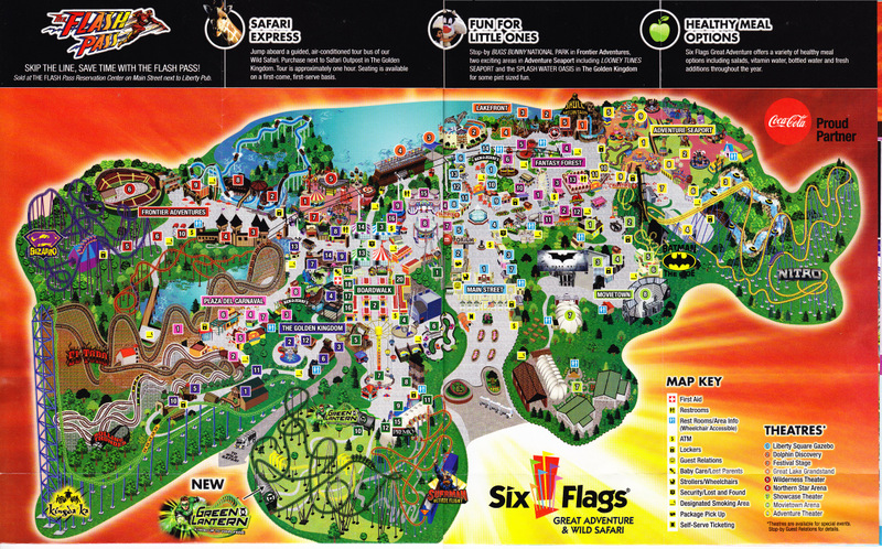 Six Flags Nj Map Six Flags Great Adventure   2011 Park Map