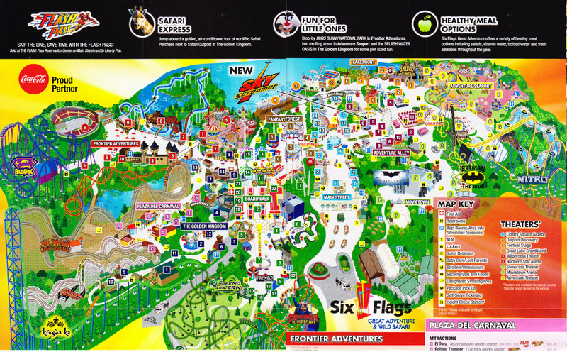 Six Flags Nj Map Six Flags Great Adventure   2012 Park Map