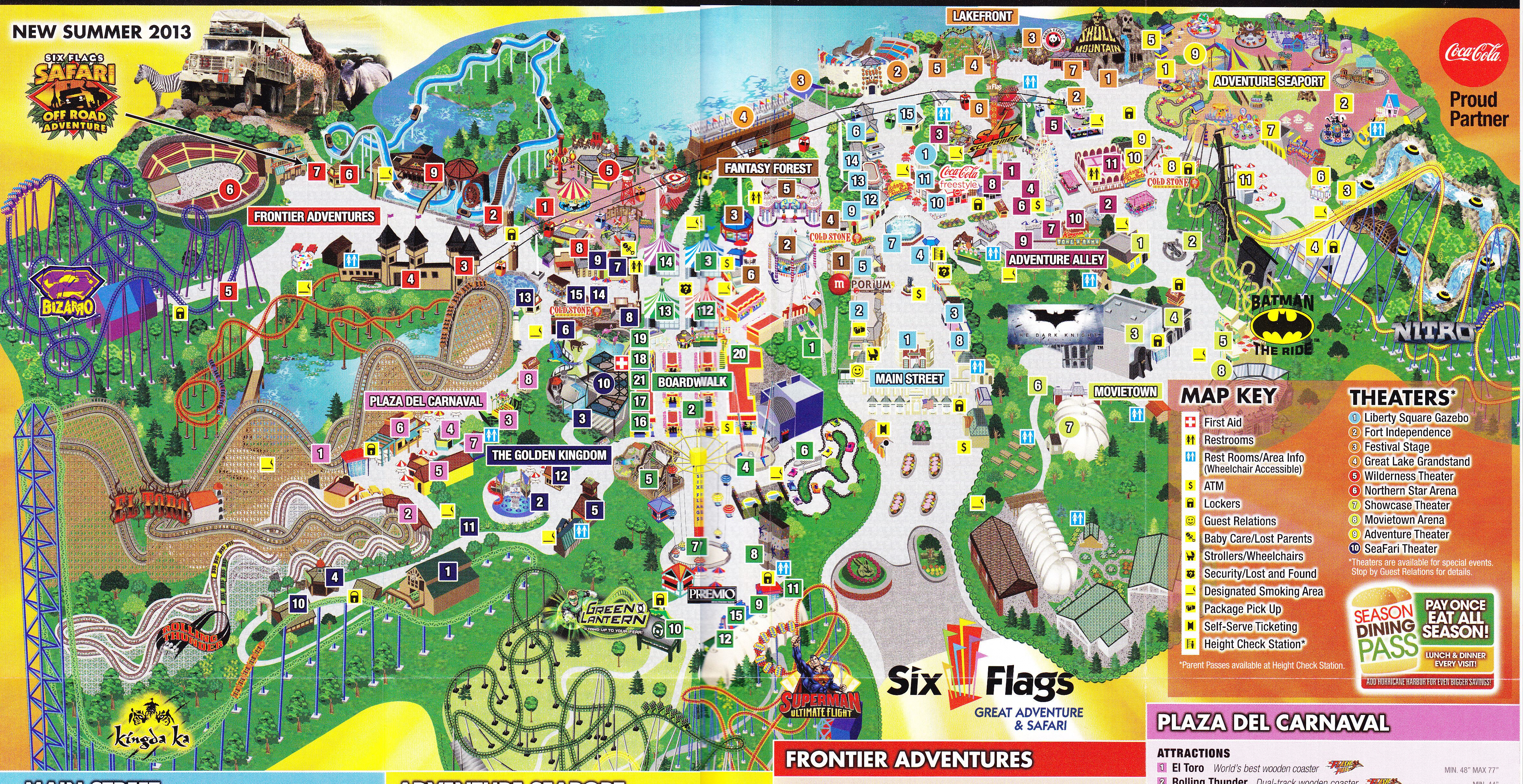 Six Flags Nj Map Six Flags Great Adventure   2013 Park Map