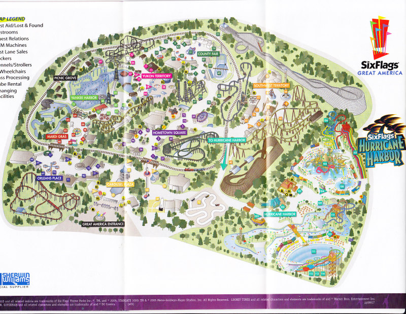Map Of 6 Flags Great America.Six Flags Great America 2005 Park Map