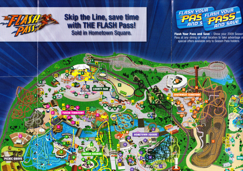 Map Of 6 Flags Great America.Six Flags Great America 2009 Park Map