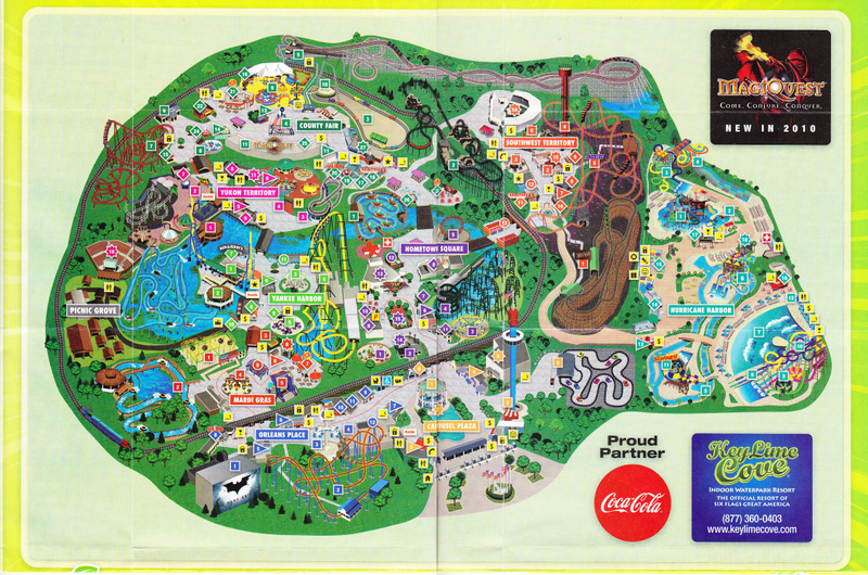 Map Of 6 Flags Great America.Six Flags Great America 2010 Park Map