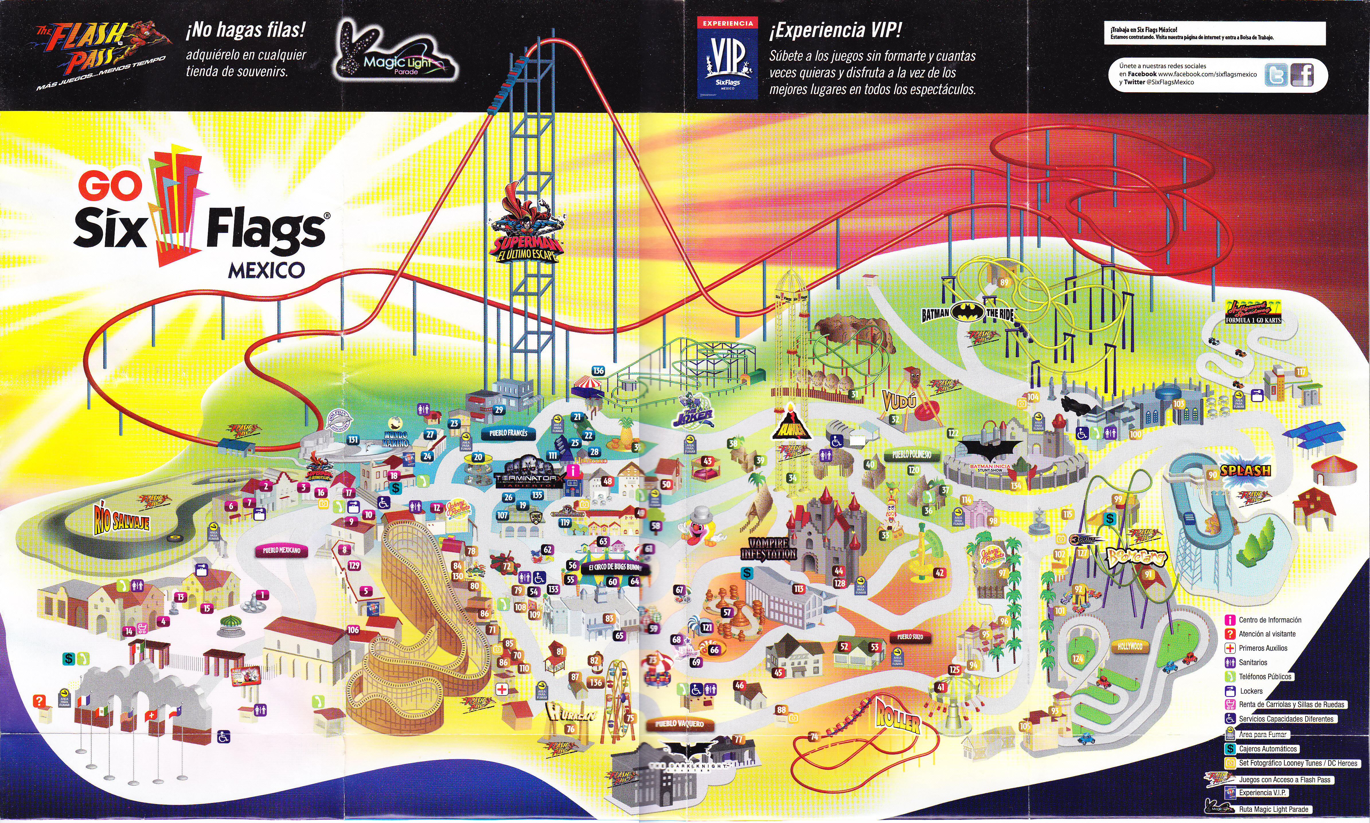 Six Flags Mexico 2013 Park Map