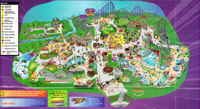Six Flags New England   2010 Park Map