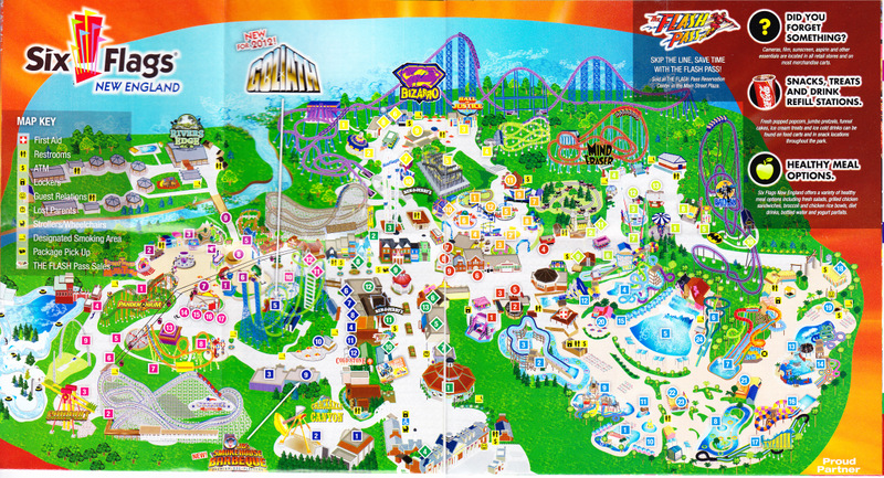 Six Flags New England   2012 Park Map*