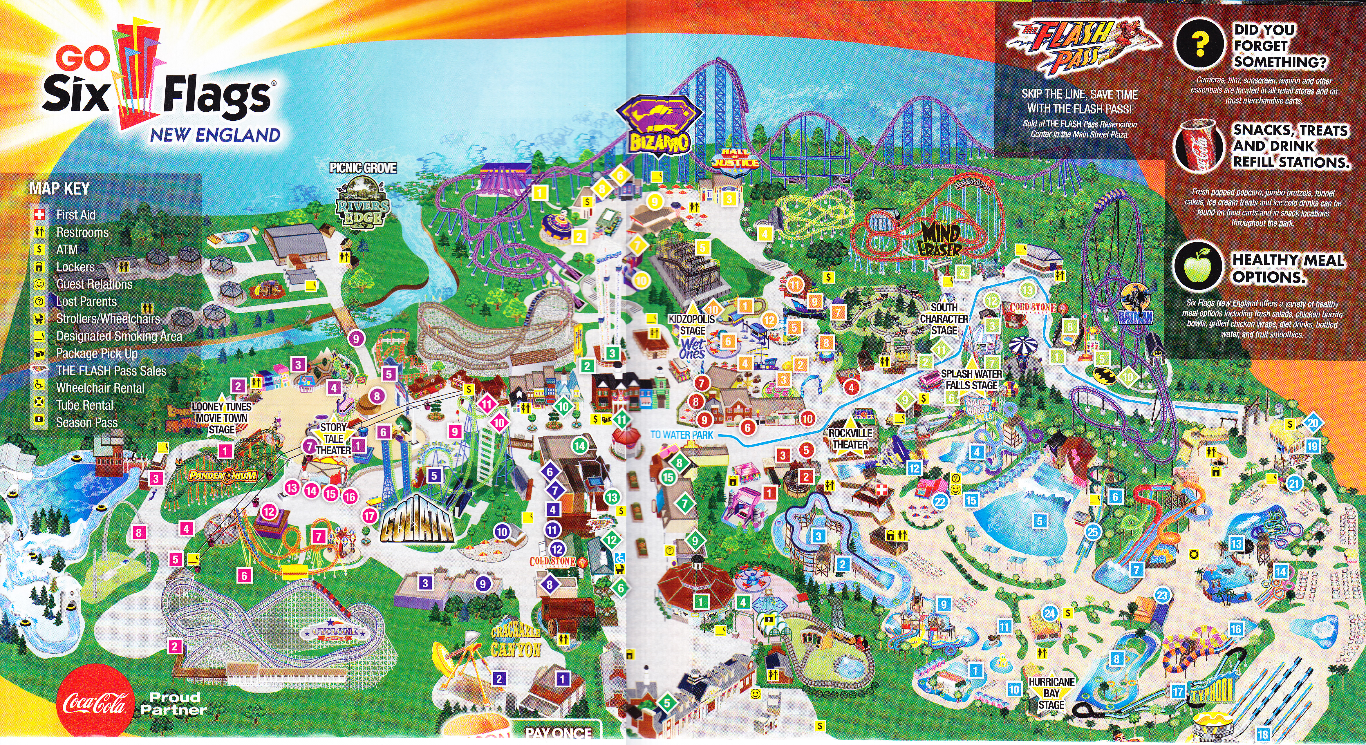 Six Flags New England   2013 Park Map