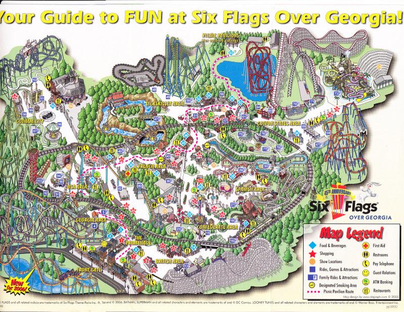Six Flags Over Georgia  2006 Park Map