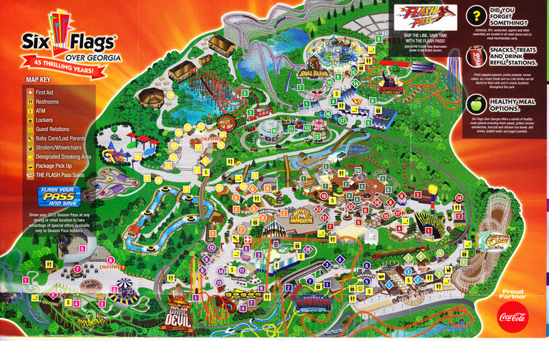 Six Flags Over Georgia Map Six Flags Over Georgia   2012 Park Map Six Flags Over Georgia Map