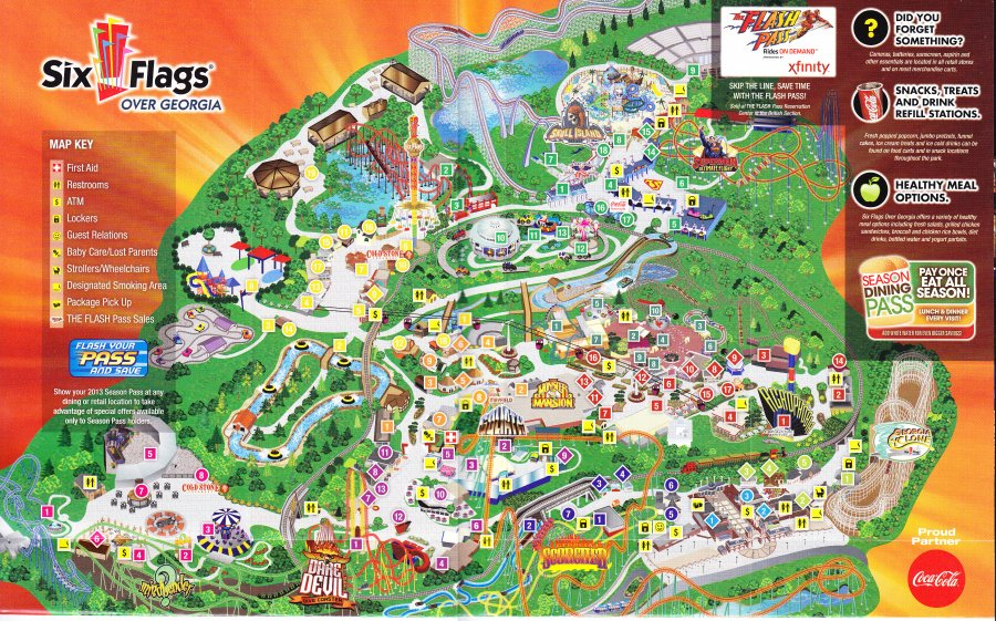 Six Flags Over Georgia 2013 Park Map