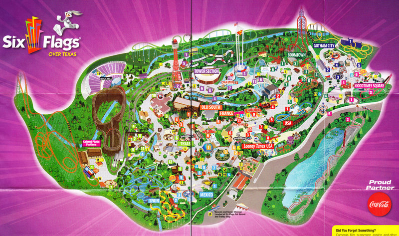 Six Flags Over Texas 2009 Park Map