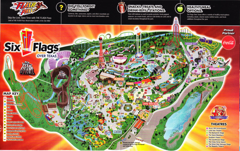 Six Flags Over Texas   2011 Park Map