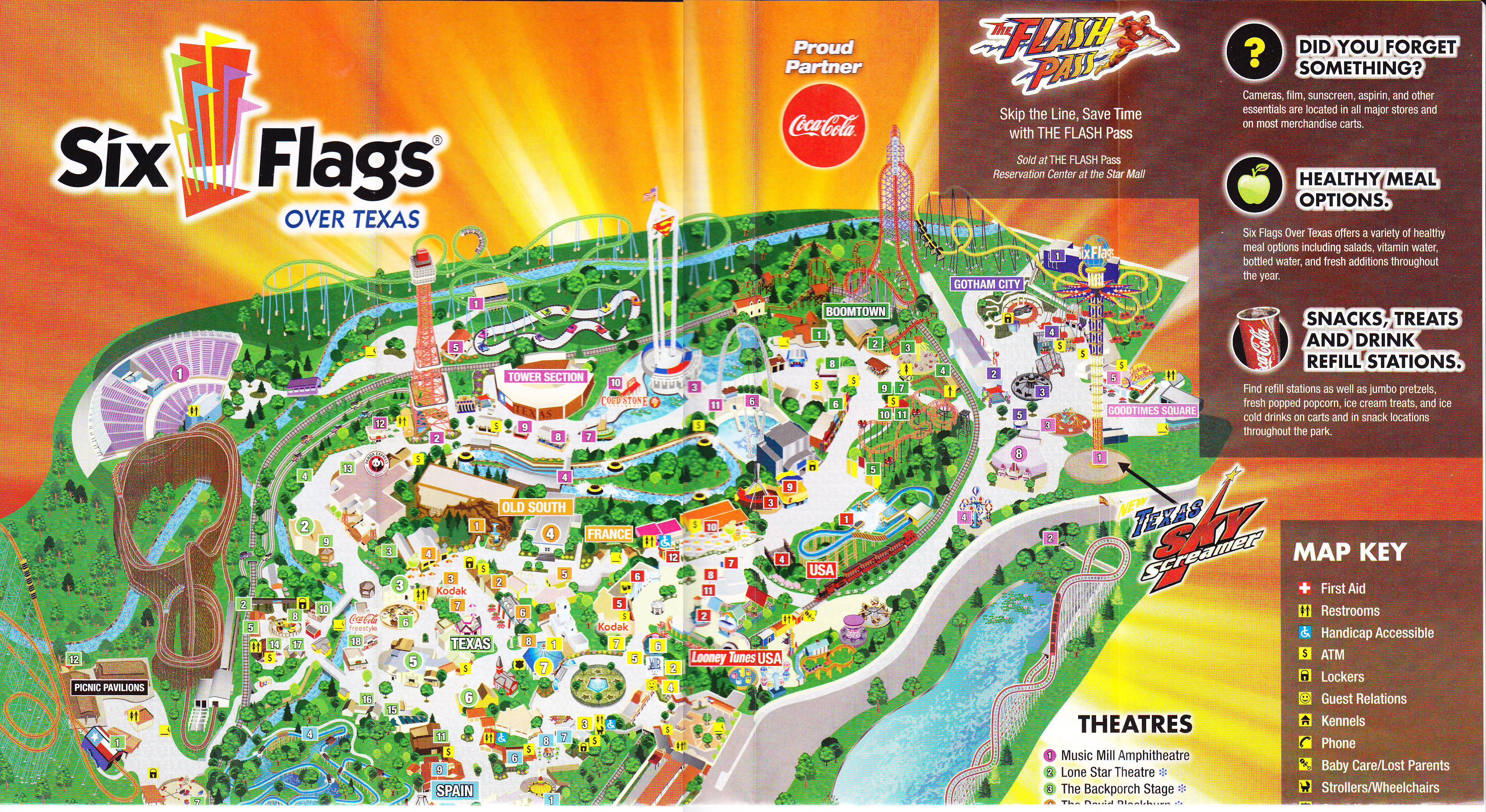 Six Flags Over Texas   2013 Park Map