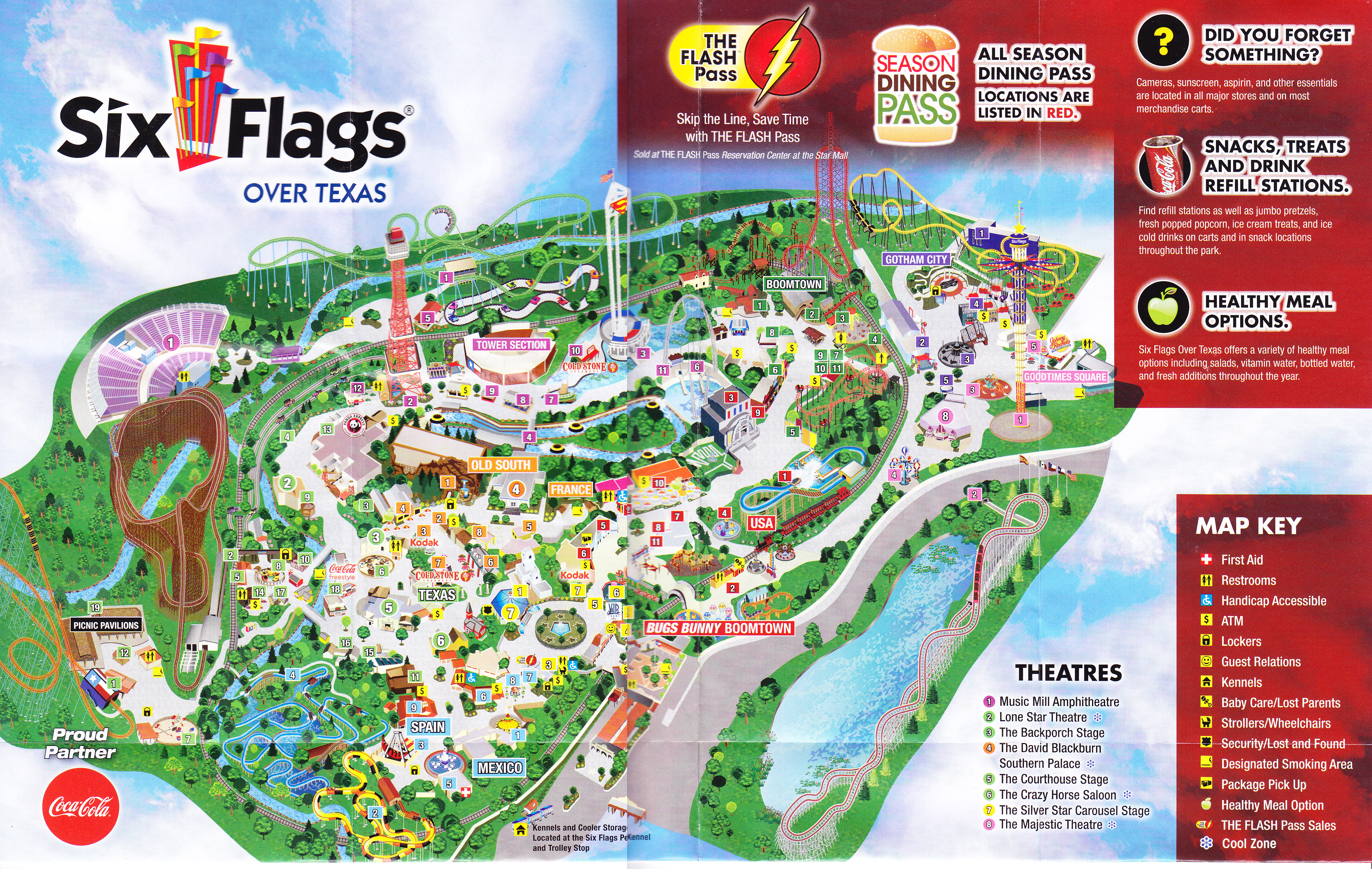 Map Of Six Flags Over Texas Six Flags Over Texas   2015 Park Map