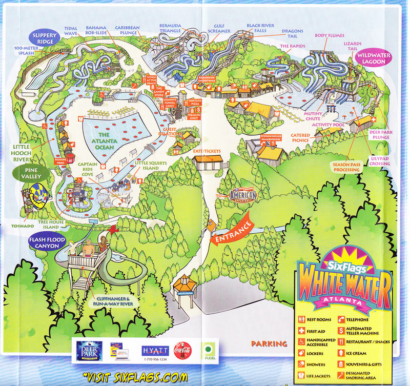 Six Flags White Water 2006 Park Map
