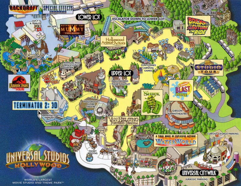 Universal Studios Hollywood Park Map Universal Studios Hollywood   2006 Park Map