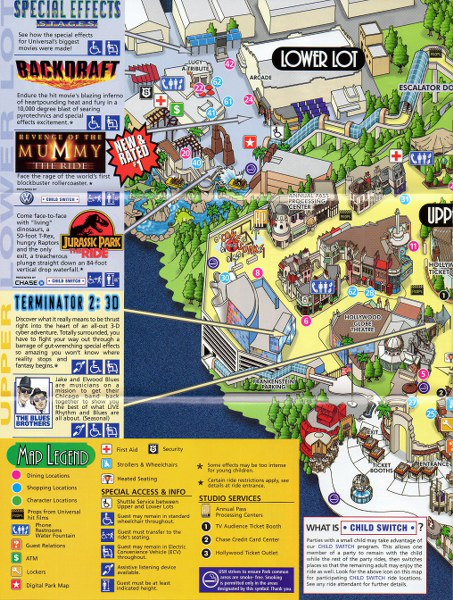 universal studios hollywood 2006 park map