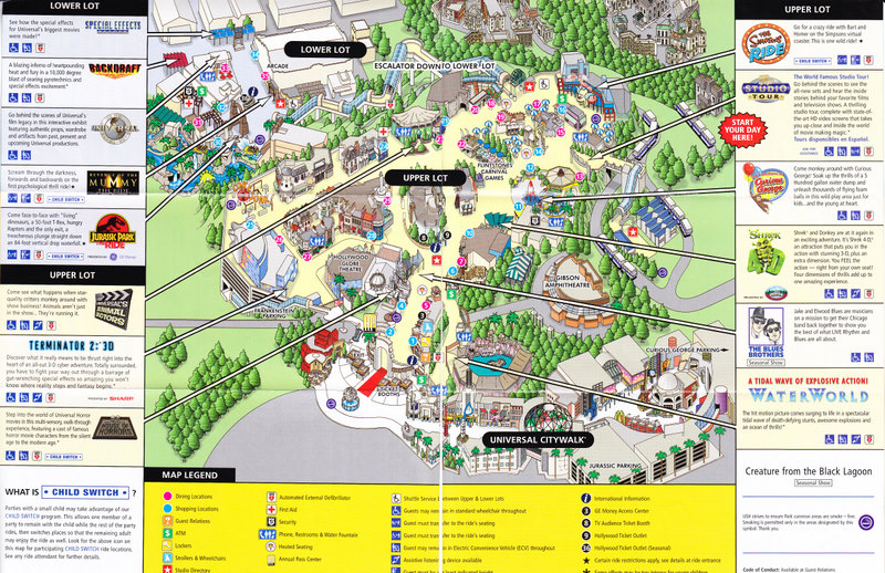 Universal Studio California Map Universal Studios Hollywood   2009 Park Map