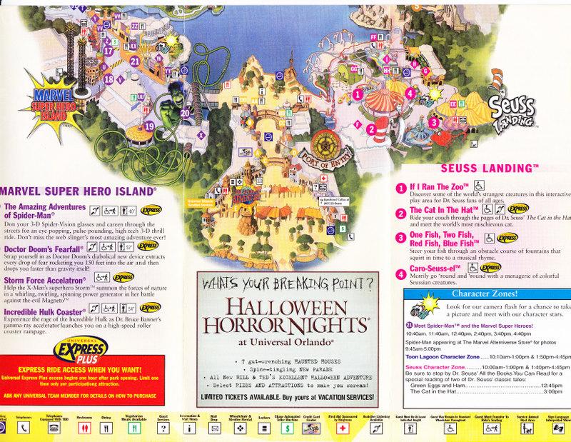 Universal Studios Islands of Adventure 2004 Park Map