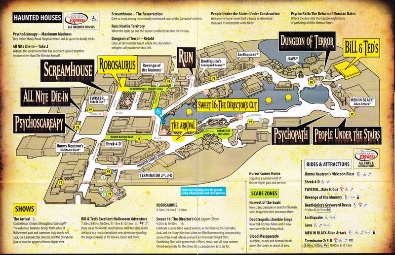 Universal Studios Orlando - 2006 Park Map (HHN)