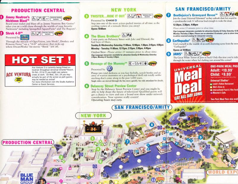 Universal Studios Orlando 2007 Park Map