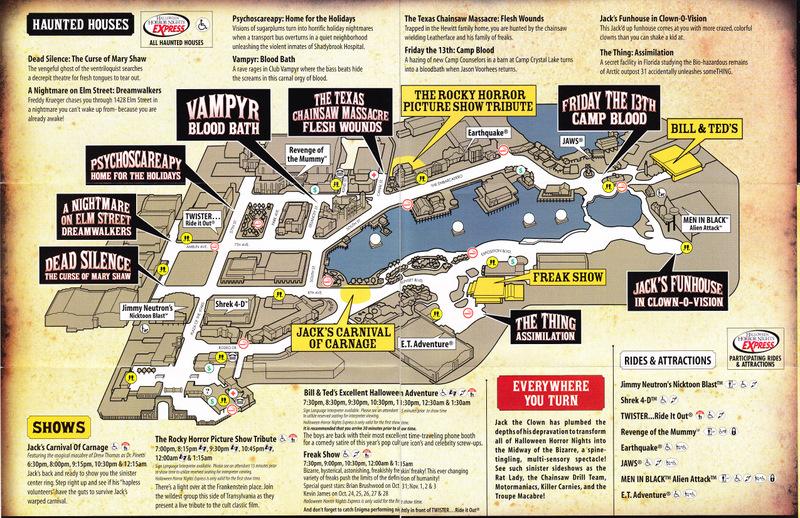 Universal Studios Orlando 2007 Park Map HHN