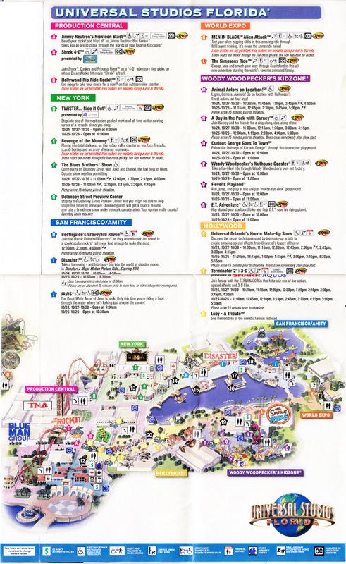 Universal Studios Orlando 2010 Park Map