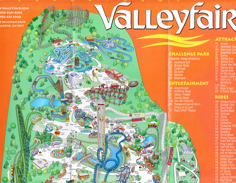 Valleyfair! - 2005 Park Map on mission valley mall map, imperial valley california map, hudson valley mall map, fox valley map, queen elizabeth country park south downs map, champlain valley map, happy valley park map, valley fire map, ridgedale mall map, garden state plaza map, century city map, fashion valley map, fair park map, mississippi valley fairgrounds map, target center map, nevada county fairgrounds map, houston galleria map, oakridge mall map, mall of america map, chandler fashion center map,