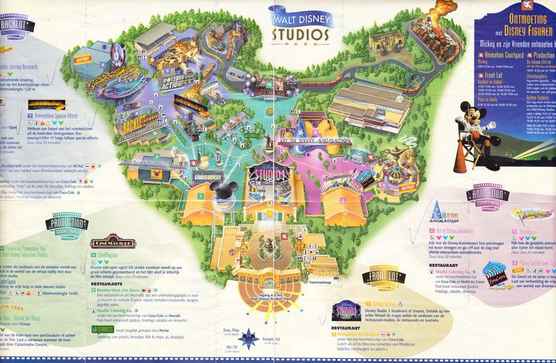 Walt Disney Studios Park - 2003 Park Map on map of disneyland paris studios, map of pixar studios, map of disney universal studios, map of animation studios,