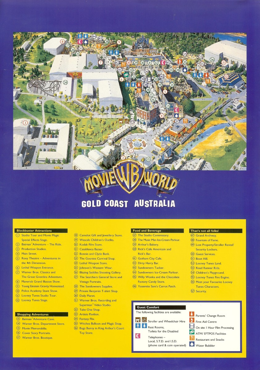 Warner Bros Movie World 1996 Park Brochure