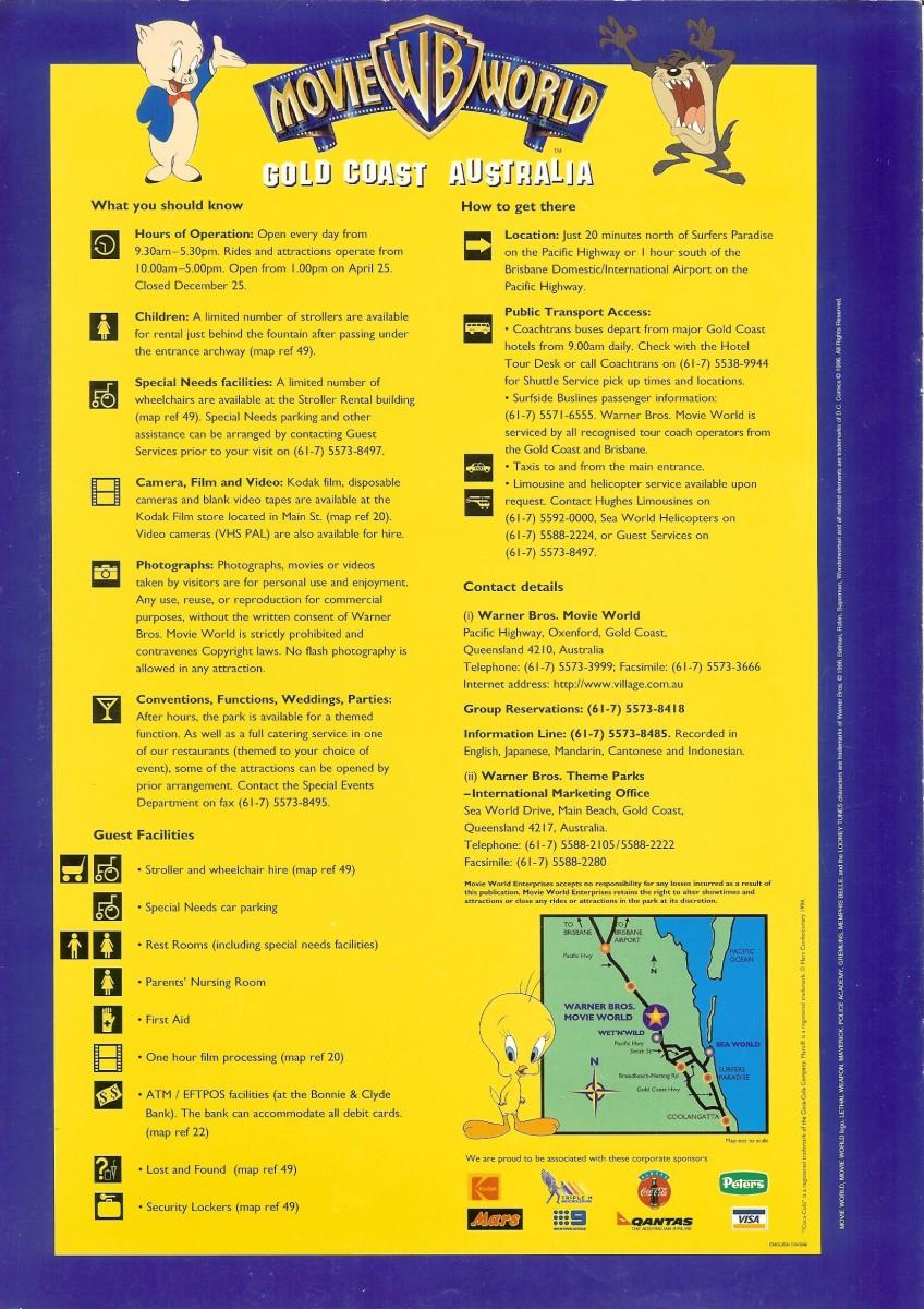Warner bros movie world 1996 park brochure movie world 1996 park brochure gumiabroncs Image collections