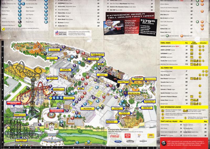 Warner Bros Movie World 2012 Park Map