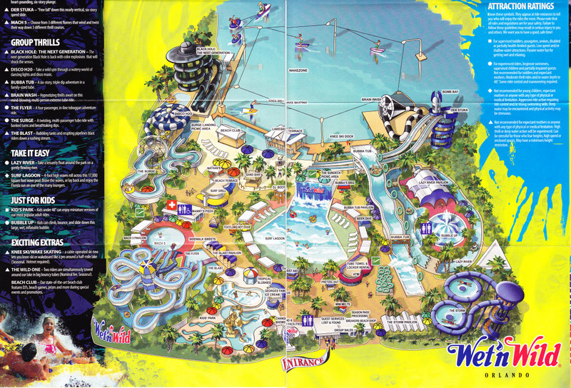 Map Of Wet N Wild Orlando Wet 'n Wild   2008 Park Map